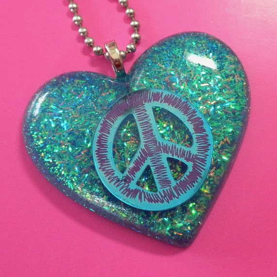 Resin Peace Sign Heart Pendant