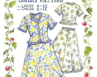 Ruffled Blouse and Skirt Pattern  Childs sizes
