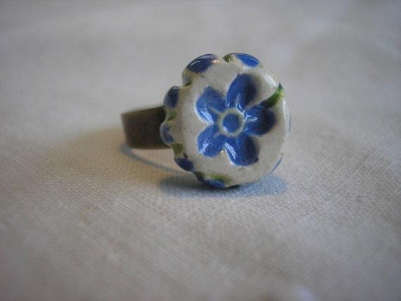 Forget Me Not Handmade Ceramic Ring