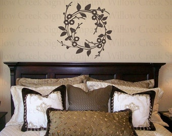 Wreath Decal Vinyl Wall Lettering Words Graphic Art