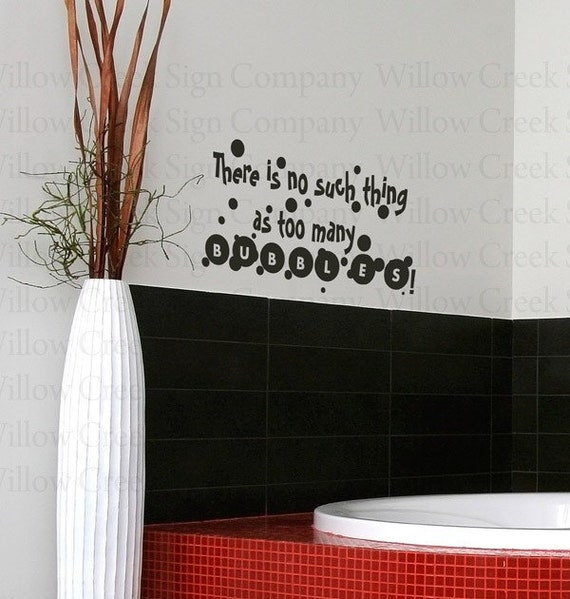 Bathroom Lettering Decor : Bubbles bathroom vinyl wall lettering words by