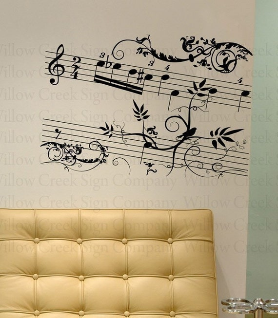 Wall Art Stickers Song Lyrics : Music lyrics staff lettering vinyl wall decals by
