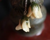 Unqiue Gifts Ivory Rose Earrings -  One of a kind gifts for her from natural rose buds