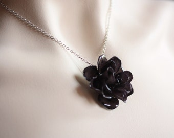 Black Rose Necklace - Gifts for Her made from real roses