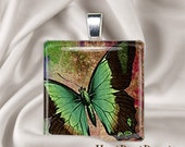 Butterfly Watercolor(Green)- Glass Tile Pendant Charm