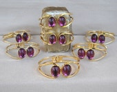 Reserved for Irene 7 Cuff Bracelets Purple Glass Stones