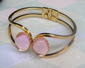 Bracelet Pink and Gold Cuff Spring Open