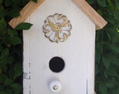 White Birdhouse with Swirling Ornate Medallion