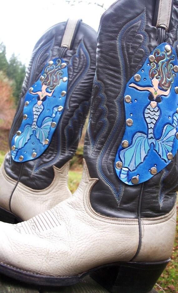 Upcycled Leather Embellished Mermaid Cowboy Boots Mens Size