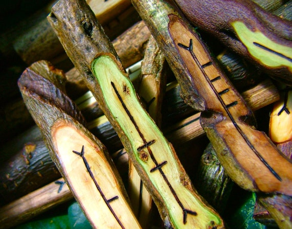 Selected native Celtic woods genuine corresponding Ogham staves - 20 woods - Made to order - Pagan divination - D080