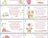 16 Retro Vintage Kitchen wedding bridal shower favor tags gift tags