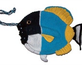 Powderblue Tang Fish Drawstring Bag - Crochet Pattern (PDF)