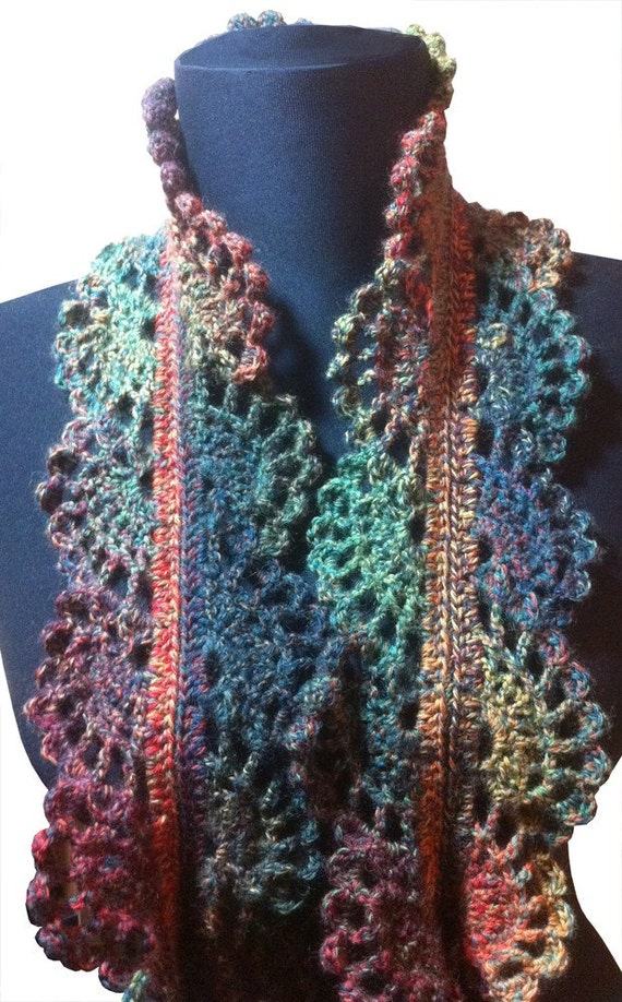 Filigree Lace Sock Yarn Skinny Scarf Crochet Pattern by ouidamac