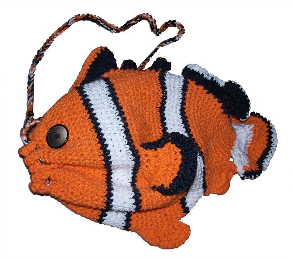 Clownfish Drawstring Bag Crochet Pattern by ouidamac on Etsy