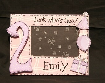Handpainted Second Birthday Picture Frame Personalized with name