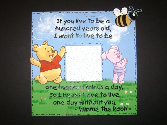 Winnie The Pooh Quote Picture Frame Handpainted With Pooh