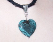 Turquoise Heart Pendant Necklace Braided Cord - FREE SHIPPING