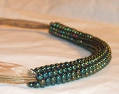 Green-Blue Glass Beaded Necklace - FREE SHIPPING