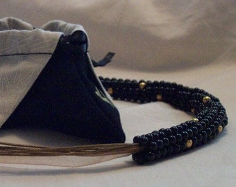 Black Onyx and Gold Bead Necklace - FREE SHIPPING