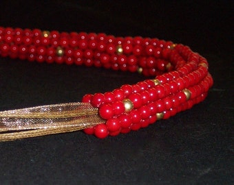 Cranberry Red Coral and Gold Bead Necklace - FREE SHIPPING