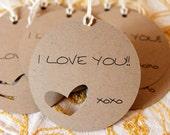 I Love You Gift Tags - Custom Printed & Die Cut 12pcs