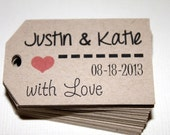 Kraft - With Love - Personalized Name and Date Wedding favor tags - Hang tags - Gift Tags - Set of 40 - Custom Printed & Die Cut