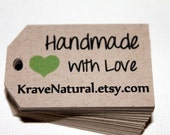 Kraft Handmade with Love - Hang tags - Gift Tags - Set of 40 - Personalized - Custom Printed & Die Cut