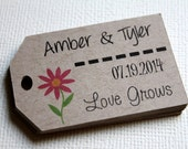 Kraft - Love Grows - Personalized Name and Date Wedding favor tags - Gift Tags - Set of 40 - Custom Printed & Die Cut