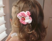 Flower Hair Clip. Pink and White. Pink and Red Roses Button. Crochet. Cotton. Ready to Ship