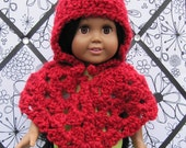 Red Doll Cape and Hat, Doll Clothing, Red Crochet Cape, American Girl Doll Cape, 18 inch Doll Clothes, Crochet Doll Clothes