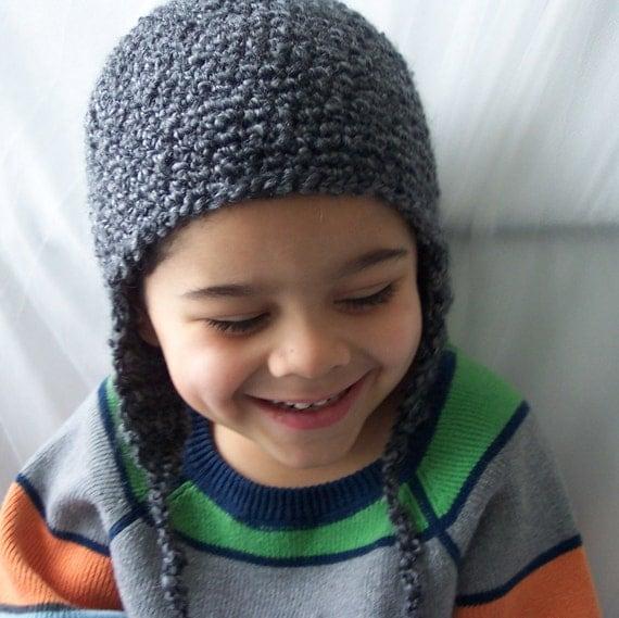 Kids Earflap Hat ,  Boys Hat , Girls Hat , Charcoal Gray Hat , Kids Grey Hat, Crochet Hat, Size 4T- 12 years