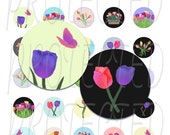 Tulips 1 inch Bottle Cap Circle Digital Collage Sheet Flowers, Original Graphics, PDF or JPG, Fits US and A4 International paper