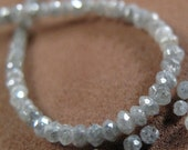 Silvery Gray Diamonds - Fabulous Faceted Rondelles - 15 Sparkling Stones