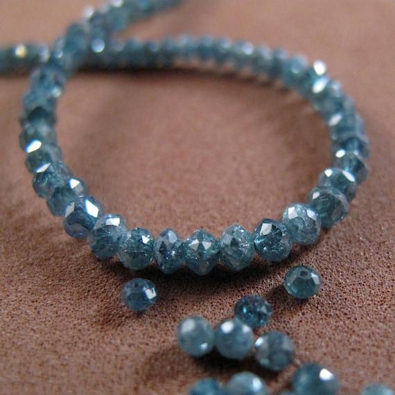 Blue  Diamonds - Fabulous Faceted  Rondelles - 8 Sparkling Stones