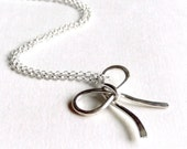 Forget Me Knot Necklace  - Sterling Silver - Hammered - 14K Goldfill Available - Fashion