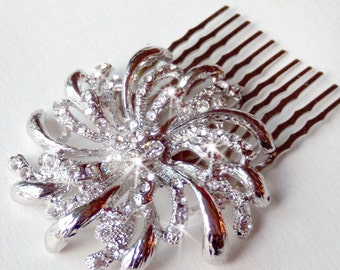 Sale - Whimsical Rhinestone Hair Comb - Silver - Vintage Style Hair Piece - Only 1 Left - WAS 26 NOW 22