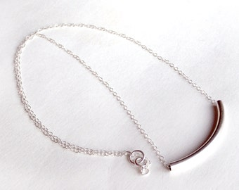 Sterling Silver Tube Necklace - Simple Everyday Necklace