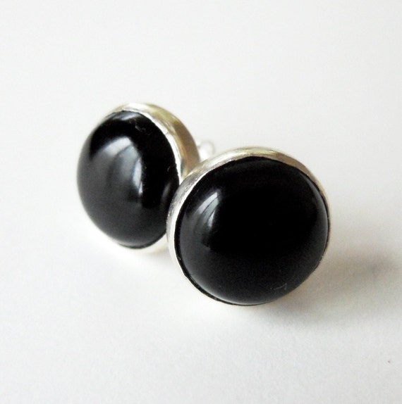 Black Onyx Studs - Sterling Silver