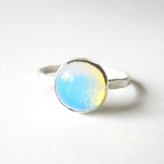 Opalite Moonstone Stacker Ring - Sterling Silver