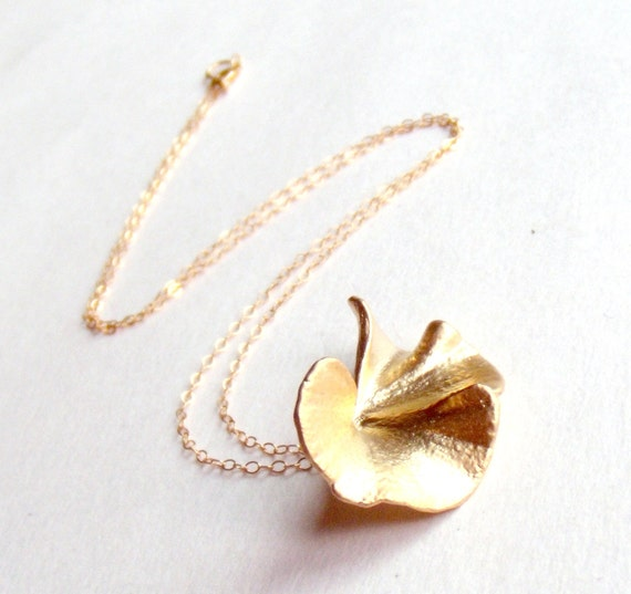 Gingko Leaf Necklace - 14K Gold Fill Chain - Matte Gold - Autumn Fall Fashion - Black Friday Etsy