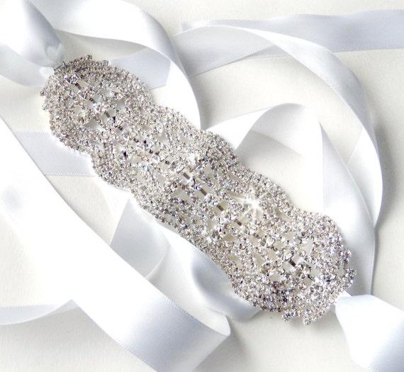 RESERVED Pretty Rhinestone Bridal Belt Sash - Custom Ivory, White, Black Ribbon - Silver and Crystal Wide Wedding Dress Belt