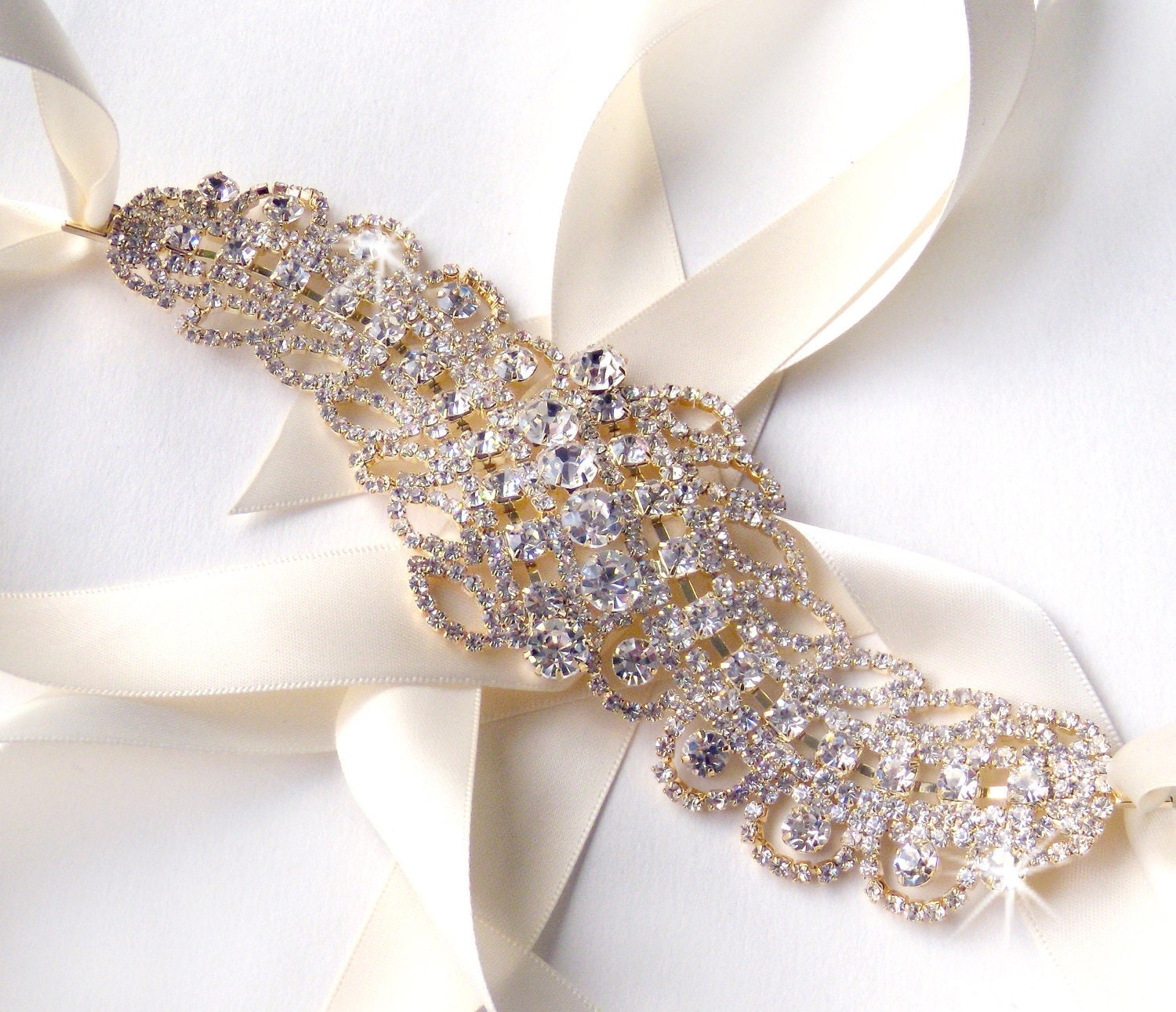 Reserved gold feather rhinestone bridal belt sash custom for Wedding dress sash with rhinestones