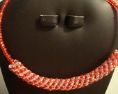 Happy Holidays Red and Crystal Russian Spiral Choker