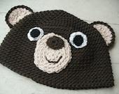 Crochet hat PATTERN: Crochet bear hat -child to adult- pdf