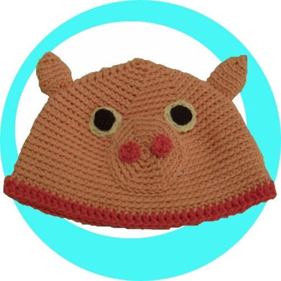 Crochet Pattern, adorable Pig Hat -infant to adult-