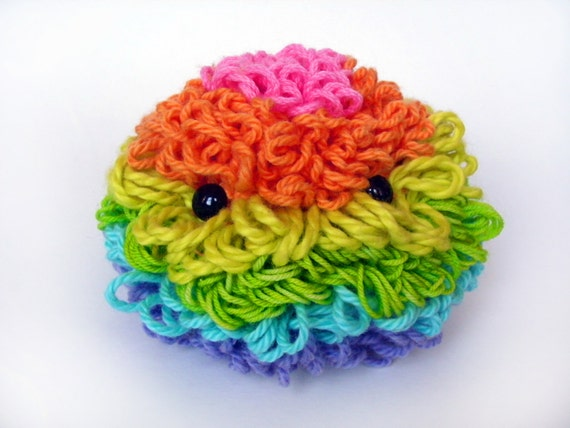 Rainbow fluffy: crochet plush