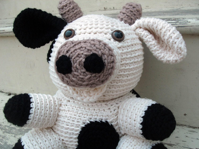 Crochet Pattern Cow Hat : Amigurumi PATTERN: Crochet Cow pdf by FreshStitches on Etsy