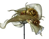 """Kentucky Derby hat, sun hat sinamay, Easter hat with flowers, Bridesmaid hat, womens hats for weddings, garden parties - """"GREEN WITH ENVY"""""""