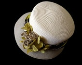 """Reserved Listing for Stacy/ womens cloche hat, two tone Cloche with ribbon rose and hydrangea bouquet  """"A Classic in Gray"""""""