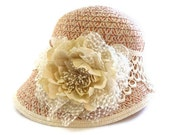 "Womens Cloche Hat, Winter Hat in Peach and Cream Tone, a Warm Hat with Romantic Vintage Style - ""PEACH DREAM"""